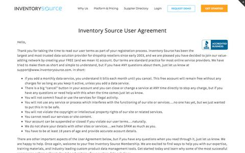 Screenshot of Terms Page inventorysource.com - Terms of Service - Inventory Source - captured Sept. 22, 2018