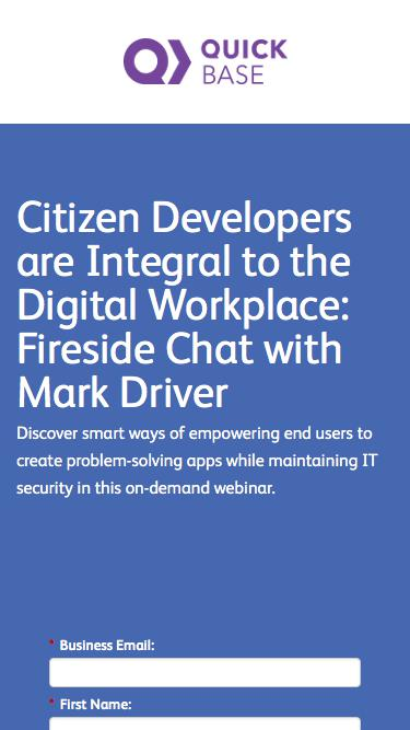 Citizen Developers are Integral to the Digital Workplace Webinar | QuickBase