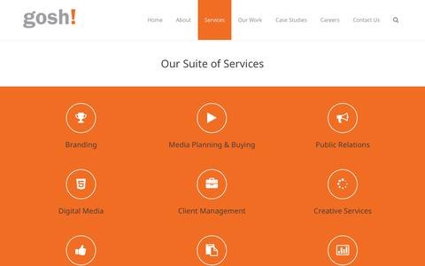 Screenshot of Services Page gosh.com.sg - Services - Gosh Advertising Pte Ltd - captured Oct. 3, 2014
