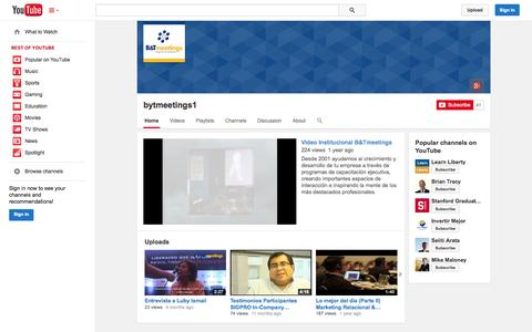 Screenshot of YouTube Page youtube.com - bytmeetings1  - YouTube - captured Oct. 22, 2014