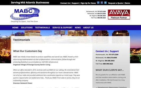 Screenshot of Testimonials Page mabc.com - Testimonials - MABC - captured Oct. 18, 2017