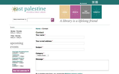 Screenshot of Contact Page east-palestine.lib.oh.us - Contact | East Palestine Memorial Public Library - captured April 23, 2017