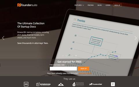 Screenshot of Home Page foundersuite.com - Software for raising capital, launching and scaling startups | Foundersuite - captured Aug. 27, 2016