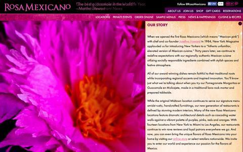 Screenshot of About Page rosamexicano.com - Rosa Mexicano - captured Nov. 26, 2015