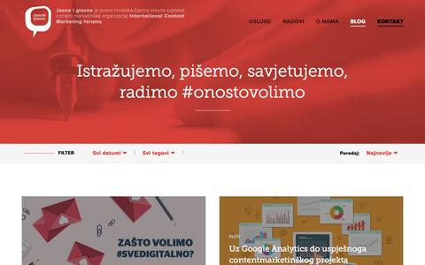 Screenshot of Blog jasnoiglasno.com - Blog - Jasno & Glasno #svedigitalno - captured Feb. 11, 2016