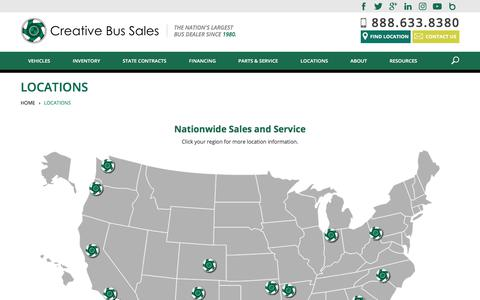 Screenshot of Locations Page creativebussales.com - Creative Bus Sales | Over 20 Locations - Nationwide Sales, Parts, and Service - captured Sept. 25, 2018