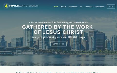 Screenshot of Home Page immanuelbc.ca - Immanuel Baptist Church - captured Oct. 11, 2018