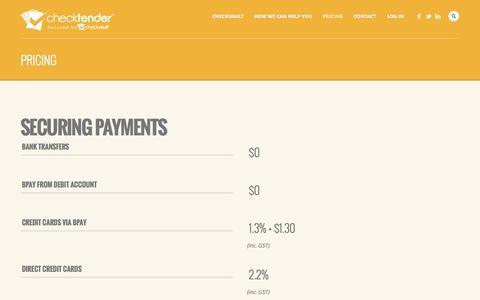 Screenshot of Pricing Page checktender.com.au - Pricing | CheckTender - captured Sept. 29, 2014