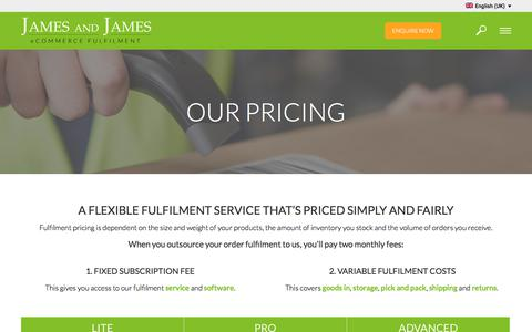 Screenshot of Pricing Page ecommercefulfilment.com - Fulfilment Costs and Pricing - James and James Fulfilment - captured March 13, 2018