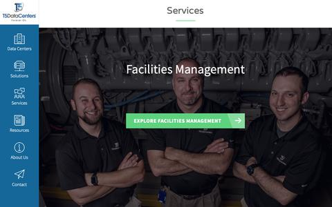 Screenshot of Services Page t5datacenters.com - Services | T5 Data Centers - captured Oct. 19, 2018