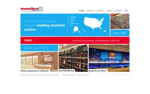 Screenshot of Home Page merchcoservices.com - Merchco Services, Inc. - Retail Store Development and Installation Solutions - captured Oct. 4, 2014