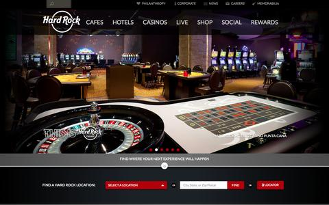 Screenshot of Home Page hardrock.com - Home | Hard Rock - captured Oct. 1, 2015
