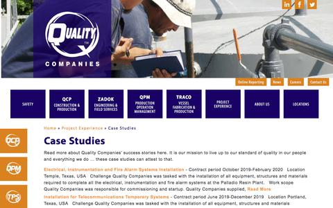 Screenshot of Case Studies Page qualitycompanies.com - Case Studies - Quality Companies - captured Feb. 2, 2020