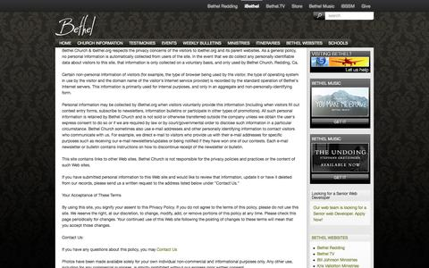 Screenshot of Terms Page ibethel.org - Legal   Bethel Church - captured Sept. 23, 2014