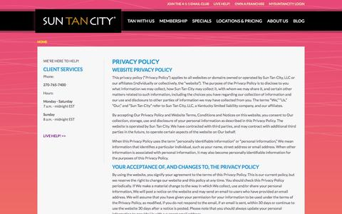 Screenshot of Privacy Page suntancity.com - Privacy Policy - captured Sept. 23, 2014