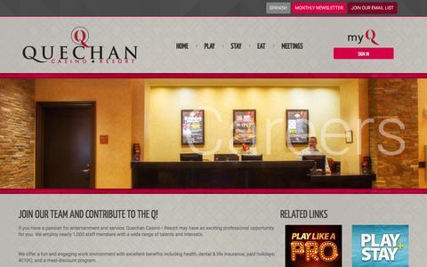 Screenshot of Jobs Page playqcr.com - Visit Quechan Casino Resort - Yuma, Arizona - captured Nov. 14, 2016