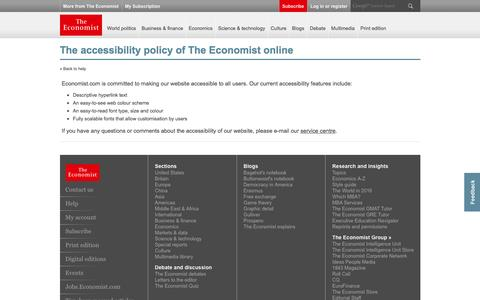 The accessibility policy of The Economist online | The Economist