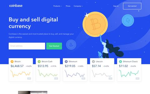 Screenshot of Home Page coinbase.com - Buy/Sell Digital Currency - Coinbase - captured Oct. 4, 2018