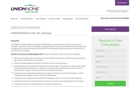 Screenshot of Jobs Page unionhomemortgage.com - Executive Assistant - Union Home Mortgage - captured Feb. 8, 2017
