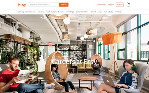 Screenshot of Jobs Page etsy.com - Careers at Etsy - captured Aug. 4, 2017
