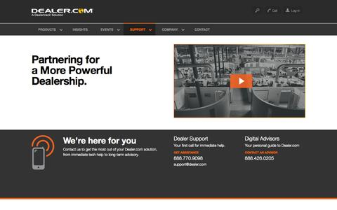 Screenshot of Support Page dealer.com - Dealer.com's Automotive Tech Support and Digital Advisory Teams - captured Nov. 3, 2015
