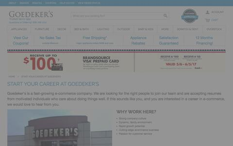 Screenshot of Jobs Page goedekers.com - Start Your Career at Goedeker's - captured May 21, 2017