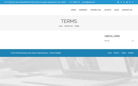 Screenshot of Terms Page witsow.com - Brand Design Strategy Digital | Witsow Branding Kochi, Kerala | Brand Design Strategy Digital | Witsow Branding Kochi, Kerala - captured Jan. 11, 2016