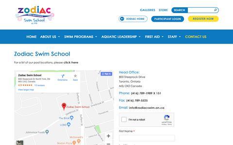 Screenshot of Contact Page zodiackids.ca - Swimming Classes in Toronto ON   Zodiac Swim School Toronto - captured Oct. 21, 2018