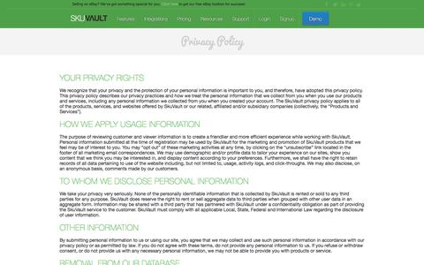 Screenshot of Privacy Page skuvault.com - SkuVault Warehouse Management System · Privacy Policy - captured Oct. 31, 2016
