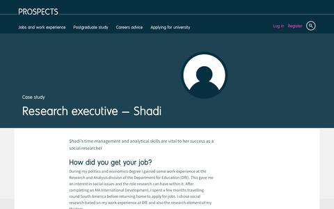 Screenshot of Case Studies Page prospects.ac.uk - Research executive: Shadi | Prospects.ac.uk - captured Dec. 5, 2016