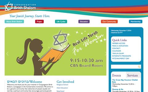 Screenshot of Home Page brithshalom.org - Congregation Brith Shalom | Your spiritual home | Your Jewish Journey Starts Here. - captured Nov. 9, 2016