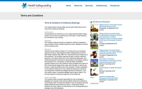 Screenshot of Privacy Page Terms Page healthsafeguarding.com - Terms and Conditions | Health Safeguarding - captured July 17, 2018