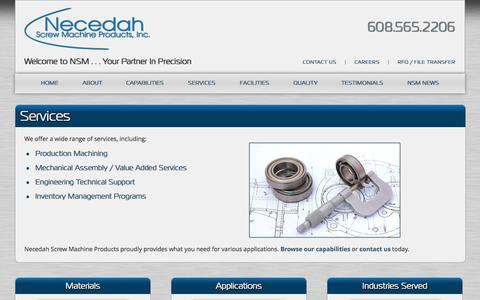 Screenshot of Services Page nsmpinc.com - Machanical Assembly | Engineering Technical Support | Inventory Management Programs | Wisconsin - captured Oct. 1, 2014