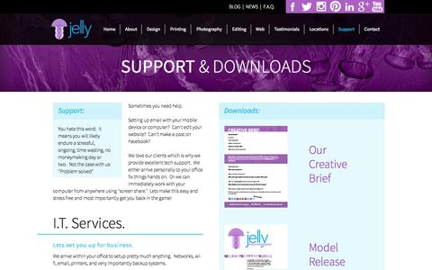 Screenshot of Support Page jellygraphicsdesign.com - Support - Help | Jelly Graphics - captured Sept. 30, 2014