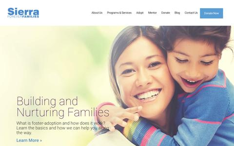 Screenshot of Home Page sierraff.org - Home - Sierra Forever Families - captured Feb. 14, 2016