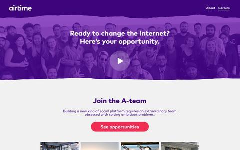 Screenshot of Jobs Page airtime.com - Airtime - captured Dec. 7, 2018