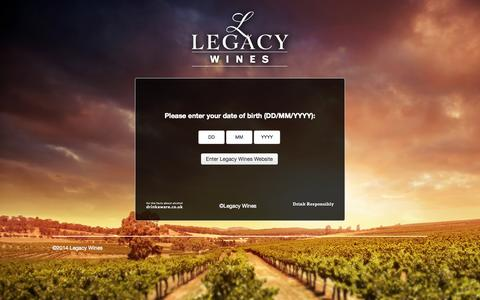 Screenshot of Home Page legacywines.co.uk - Legacy Wines • Online wine merchants - wine company - South African Wines - New Zealand Wine - captured Oct. 7, 2014