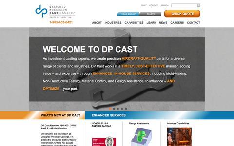 Screenshot of Home Page dpcast.com - DP Cast - Investment Casting - captured Aug. 5, 2018