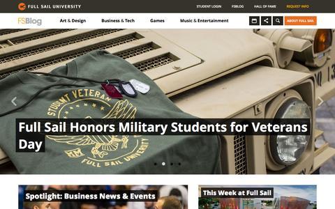 Screenshot of Home Page Blog fullsailblog.com - Full Sail University Blog - captured Dec. 1, 2015