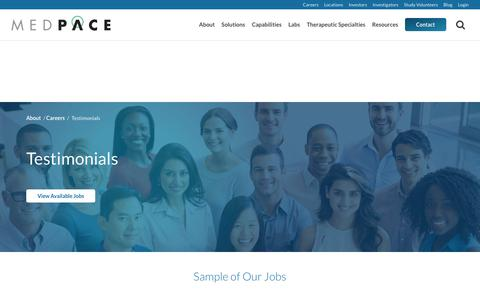 Screenshot of Testimonials Page medpace.com - Employee Testimonials | Medpace - captured June 10, 2017