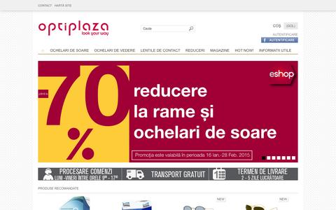 Screenshot of Home Page optiplaza.ro - Optiplaza - Ochelari de soare , Ochelari de vedere, Lentile de contact, Produse originale, Preturi excelente - captured Jan. 26, 2015