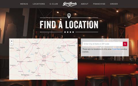 Screenshot of Locations Page giordanos.com - Find a Giordano's | Pizza Delivery & Carryout | Dine-In - captured Sept. 28, 2018