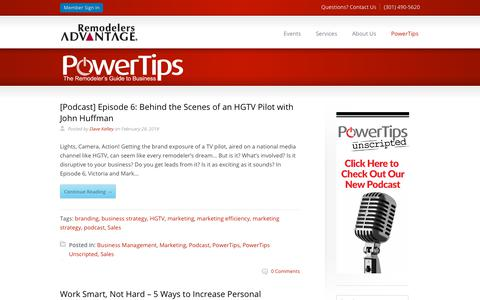 Screenshot of Blog remodelersadvantage.com - PowerTips | The Remodelers Guide to Business - captured March 5, 2018