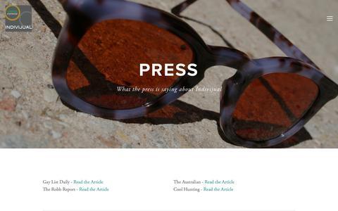 Screenshot of Press Page indivijual.com - Press — Indivijual Custom Eyewear - captured Oct. 11, 2018