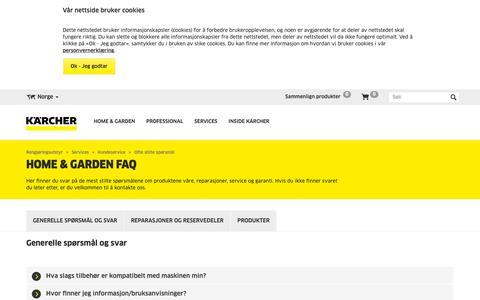 Screenshot of FAQ Page kaercher.com - Home & Garden FAQs    Kärcher - captured Oct. 16, 2018
