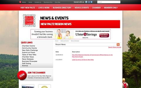 Screenshot of Press Page newpaltzchamber.org - New Paltz Region News - New Paltz Regional Chamber of Commerce | New Paltz, NY - captured Oct. 4, 2014