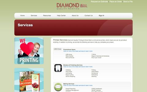 Screenshot of Services Page diamondqualityprinting.com - Diamond Quality Printing & Direct Mail: Services - captured Feb. 9, 2016