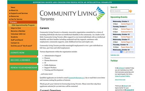 Screenshot of Jobs Page cltoronto.ca - Careers   Community Living Toronto - captured Sept. 29, 2018