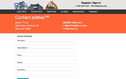 "Screenshot of Contact Page petkey.org - Contact Us | petkey â""¢ - captured Nov. 5, 2016"