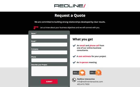 Screenshot of Landing Page redlineinteractive.com - Request a Quote - Redline Interactive - captured Aug. 18, 2016